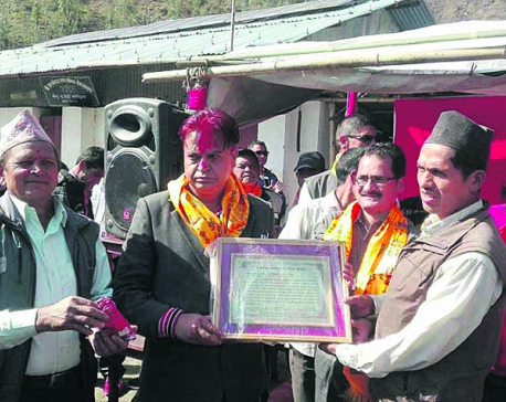 Murder-convict Dhungel felicitated in Okhaldhunga