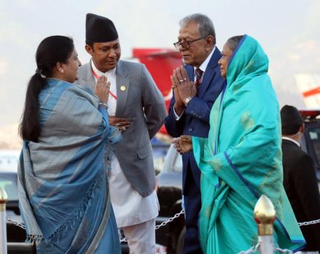 Bangladeshi President Hamid returns home (with photos)