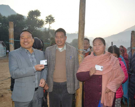 Former speaker and minister cast thier votes in Rolpa (Photo feature)
