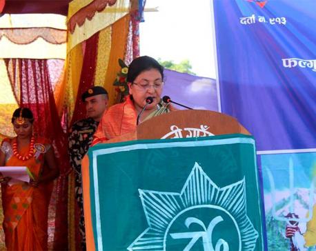 Prez Bhandari unveils statue of Phalgunanda