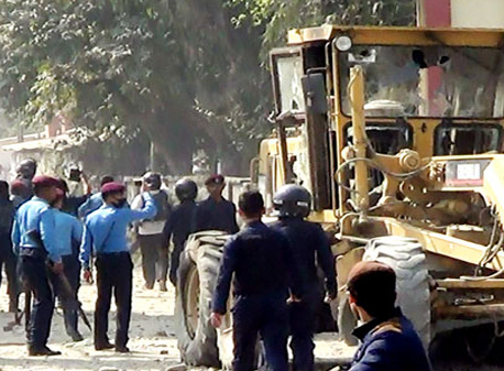 Tension flares in Biratnagar after dozer hits student