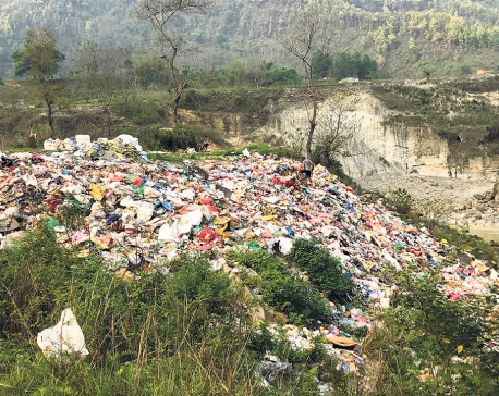 Riverbanks filled with garbage in Tanahun