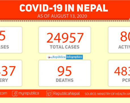 With 525 new cases in last 24 hours, Nepal's COVID-19 tally nears 25,000