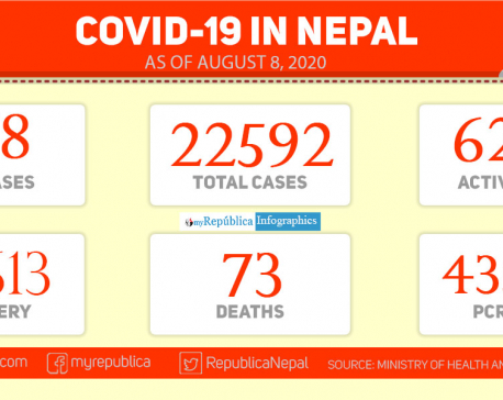 With 378 new cases in last 24 hours, Nepal's COVID-19 tally climbs to 22,592