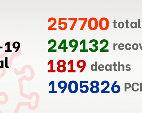 Nepal's COVID-19 recovery tally nears 250,000 as 500 new cases detected on Saturday