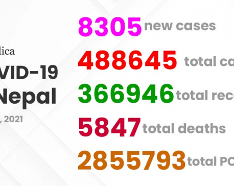 8,305 new corona cases detected, 6,543 recover on Thursday