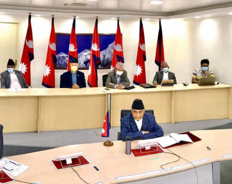 PM Oli holds video conference meeting with CMs of all seven provinces