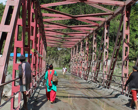 The last bridge connecting Helambu to rest of the world in bad shape