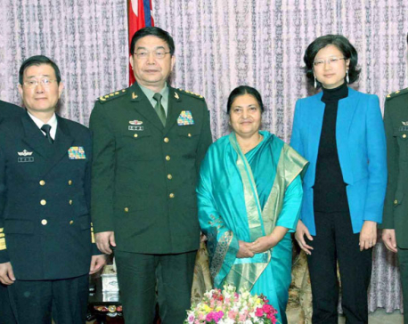 Visiting Chinese Defense Minister Chang pays courtesy call on Prez Bhandari