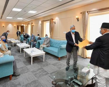 NC hands over memorandum to PM Oli regarding corona control