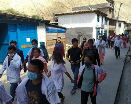 Health workers take to street in Dolpa after CDO warned of taking action against health officer over setting up quarantine, isolation wards