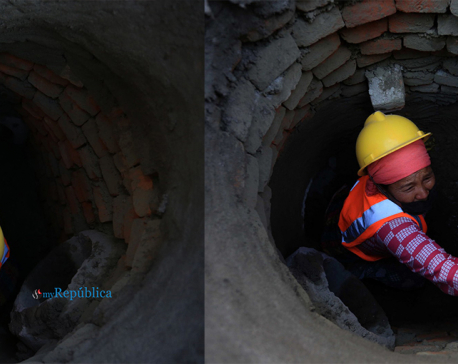 Photos: Kathmandu's sewage system being repaired