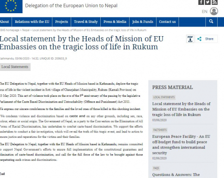 EU missions in Kathmandu deplore killing of Dalit youths in Rukum