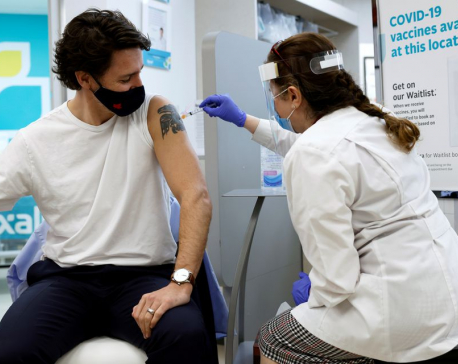 Canadian PM Trudeau receives first dose of AstraZeneca's COVID-19 vaccine