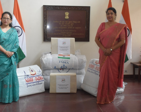 Indian Embassy in Nepal hands over consignment of disaster relief material to NIWFS president