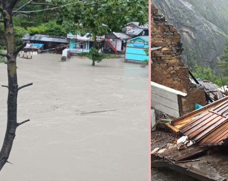 Incessant rainfall triggers flood in Manang, most houses in Taalgaon inundated