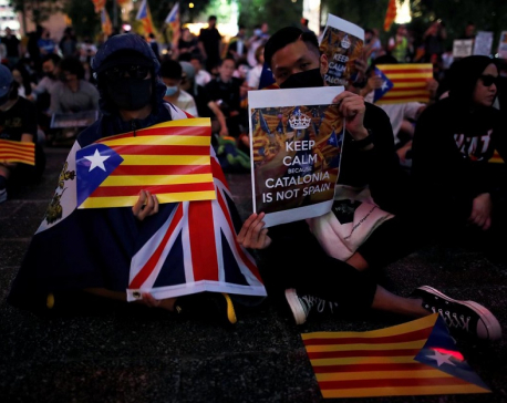 Hong Kong pro-democracy protesters rally for Catalan independence