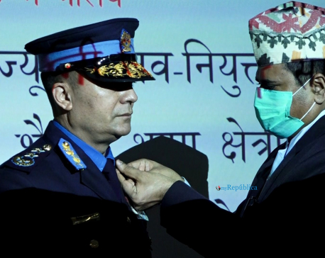 Newly appointed IGP Shailesh Thapa conferred insignia (with photos)