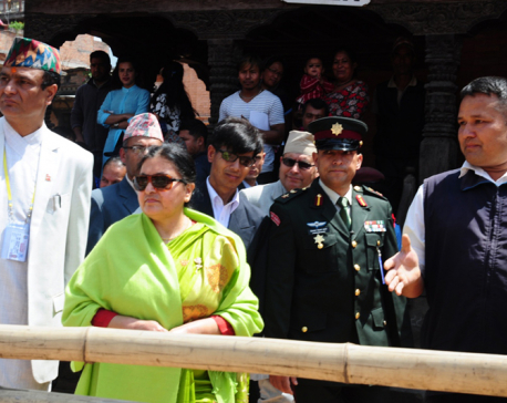 President Bhandari inspects heritages at Bhaktapur Durbar Square (With photos)