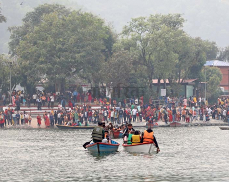 PHOTOS: Thousands throng Pokhara's Lakeside to celebrate New Year despite risk of COVID-19 transmission
