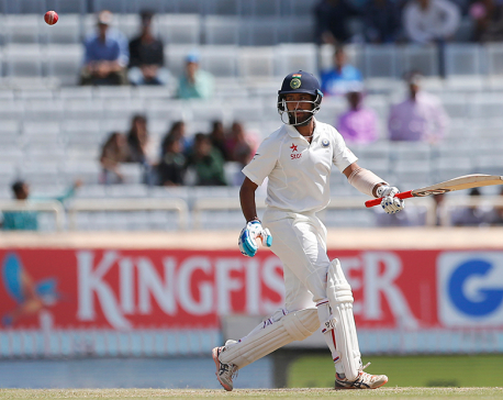 3rd test: Pujara hits 130 as India trails Australia by 91