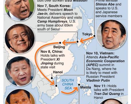 Infographics: Longest overseas sojourn of Trump's presidency