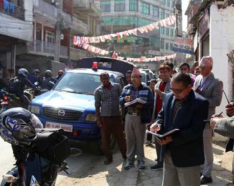 EC inspects election publicity activities in Kathmandu