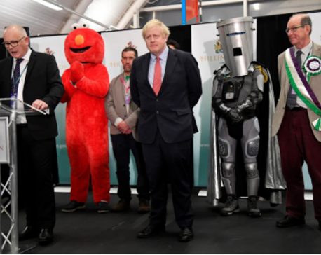 Johnson takes centre stage, along with Elmo & Lord Buckethead