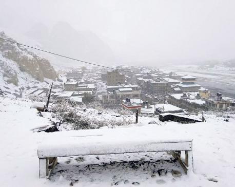 Heavy snowfall in Manang, Mustang; mercury dips to -6oC
