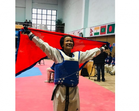 Kajal Shrestha clinches gold in Taekwondo