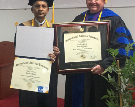 Regmi conferred with honorary doctorate in USA