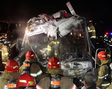 10 killed in South Korea after bus fire on highway