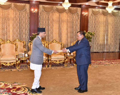 Ambassador Dhakal presents credentials to President of Laos