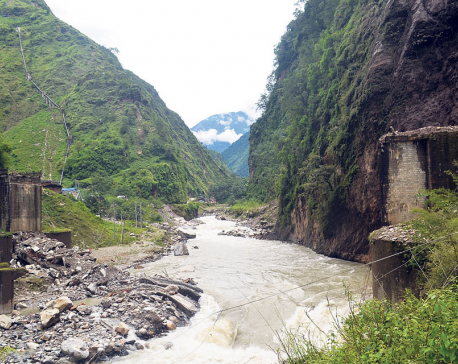Tatopani isolated after landslide destroys major bridge