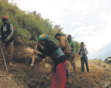 Children working on road project implemented by Nepal Army