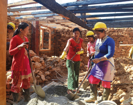 Sindhupalchowk's Majhi people help each other to rebuild homes