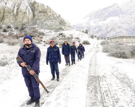Snowfall brings chill to Manang uplands