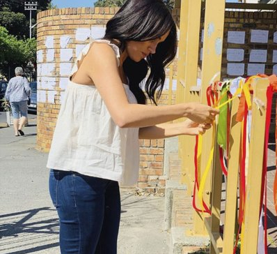 Meghan visits memorial to murdered South African woman