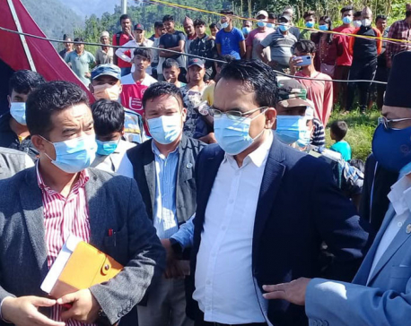 Home Minister Khand visits flood-hit areas in Melamchi