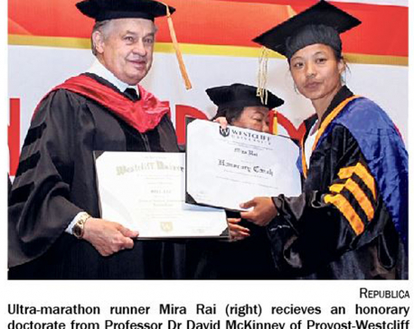 Ultra-marathon runner Mira Rai felicitated with honorary doctorate degree in Business Administration