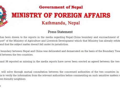 MoFA refutes media reports on Nepal-China boundary