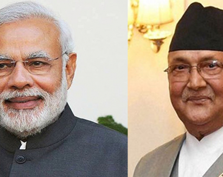 PM Oli holds one-on-one meeting with Modi