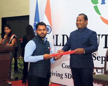 Nepali youth awarded in Delhi