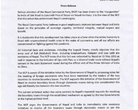Ruling NCP deplores India's unilateral road construction through Nepali territory Lipulekh (with statement)