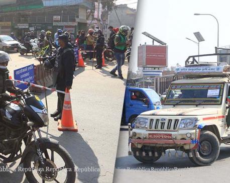 Impact of NCP (Dahal-Nepal faction)'s general strike in Bhaktapur: Police returning vehicles, people from Jadibuti