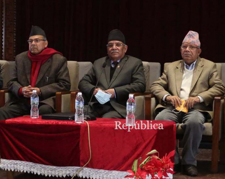 Dahal-Nepal faction meeting at parliament building (with photos)