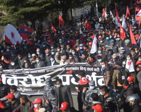 Dahal-Nepal faction of ruling NCP staging nationwide protest today against dissolution of parliament