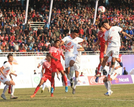 Nepal scores second goal against Bhutan in finals of men's football