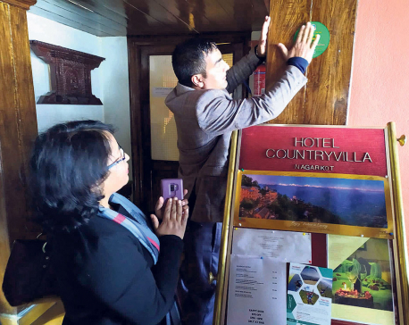 Hygiene stickers for resorts and hotels in Nagarkot
