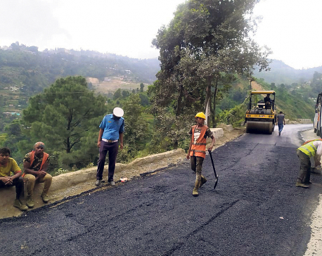 Government resumes blacktopping Naubise-Nagdhunga road section